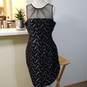 Maggy London Black & Silver Cocktail Dress